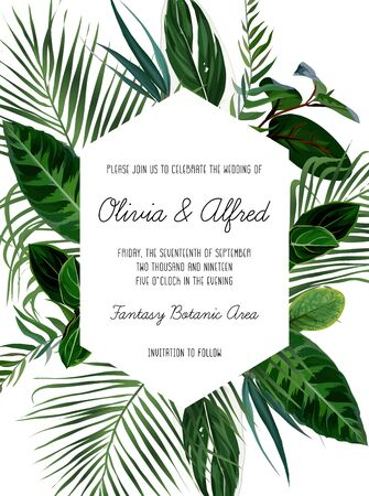 Tropical frame arranged from exotic emerald leaves. Geometric vector. Paradise plants, greenery and palm card. Stylish fashion banner. Wedding design. All leaves are not cut. Isolated and editable Illustration
