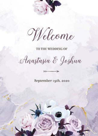 Dusty violet lavender, mauve antique rose, purple pale flowers, white anemone, thistle, purple leaves vector design wedding frame. Fluid painting. Floral pastel watercolor style.Isolated and editable