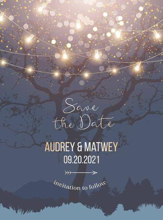 Night Christmas garden full of lights and snow vector design invitation frame Imagens - 132006564