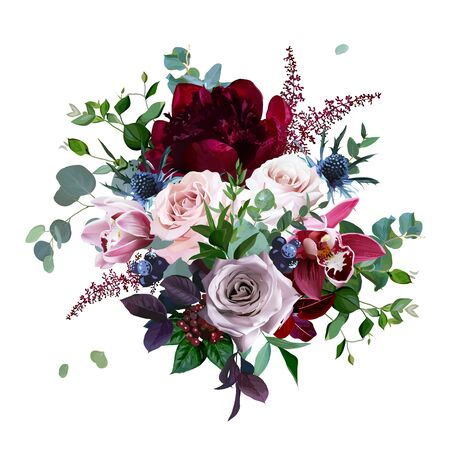 Luxury fall flowers vector bouquet. Cymbidium orchid flower, dusty, mauve rose, burgundy red peony, navy blue thistle, astilbe, greenery and berry.Autumn wedding bunch of flowers Isolated and editable 矢量图像
