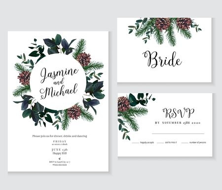 Emerald christmas greenery, spruce, fir, pine cones seasonal vector design frames. Woodland simple style. Winter chic wedding or new year party invitation cards. Watercolor. Isolated and editable