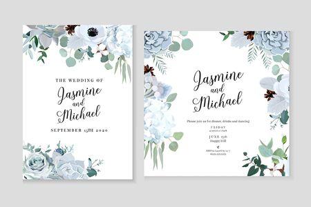 Tarjetas de diseño de vectores de color jade gris y verde de invierno. Echeveria suculenta, anémona, hortensia, algodón, brunia, rosa, eucalipto, verdor. Colección de marcos de boda pastel de moda.Aislados y editables