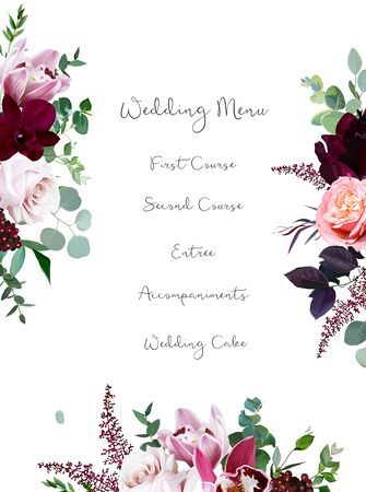 Luxury fall flowers vector design frame. Orchid flower, peachy coral garden rose, burgundy red peony, astilbe, eucalyptus, greenery and berry. Autumn wedding bunch of flowers. Isolated and editable