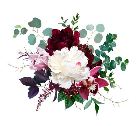 Luxury fall flowers vector bouquet. Pink cymbidium orchid flower, burgundy red and white peony, eucalyptus, astilbe, greenery and red berry. Autumn wedding bunch of flowers. Isolated and editable