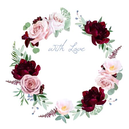Dusty rose, burgundy red peony, camellia, greenery vector design round invitation frame. Pink, blue, green tones. Watercolor wedding card. Autumn rustic style. All elements are isolated and editable  イラスト・ベクター素材