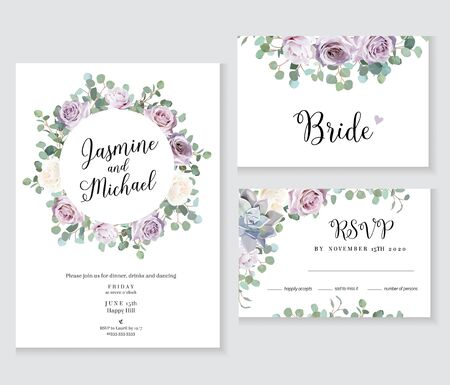 Floral wedding vector frames. Dusty violet lavender,creamy and mauve antique rose, purple pale flowers,succulent  on white background. Greenery invitation.Watercolor style cards. Isolated and editable