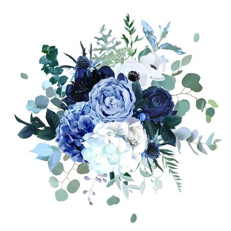 Royal blue, navy garden rose, white hydrangea flowers, anemone, thistle, eucalyptus, peony, berry vector design wedding bouquet. Eucalyptus, greenery. Floral watercolor style. Isolated and editable