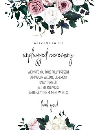 Dusty pink, pastel, white flowers glamour vector design wedding frame. Hydrangea, ranunculus, rose, berry, emerald greenery. Floral dark luxury style. Unplugged ceremony template.Isolated and editable