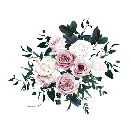 Dusty pink, pastel, white flowers glamour vector design wedding bouquet. Hydrangea, ranunculus, rose, black berry, emerald greenery. Floral dark luxury style. All elements are isolated and editable Vektorové ilustrace