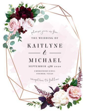 Luxury fall flowers wedding vector bouquet card. Garden dusty rose, burgundy red and white peony flowers, eucalyptus, astilbe, greenery and berry. Autumn watercolor style frame. Isolated and editable
