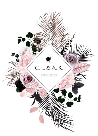 Black and dusty pink flowers glamour vector design square frame. Dusty rose, hydrangea, pink leaves, berry, bronze, black palm leaves.Floral dark luxury style. Elements are isolated and editable