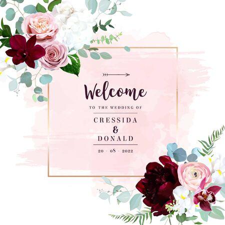 Luxus Herbstblumen Vektor-Blumenstrauß. Rosa Orchidee, staubige rosa Rose, Ranunkel, burgunderrote Pfingstrose, weiße Hortensie und Iris, blauer Eukalyptus, Grün. Goldene Linie, rosa Texturspritzer im Aquarellstil