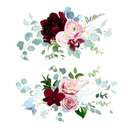 Luxury fall flowers vector bouquets. Pink orchid, dusty pink rose, ranunculus, burgundy red peony, white hydrangea and iris, blue eucalyptus, greenery. Autumn wedding flowers. Isolated and editable Vector Illustration