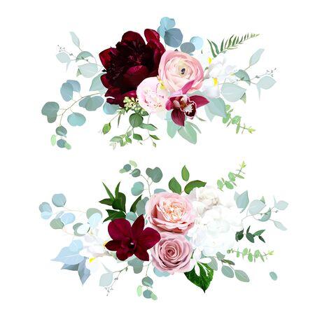 Ramos de vector de flores de otoño de lujo. Orquídea rosa, rosa polvorienta, ranúnculo, peonía roja burdeos, hortensias blancas e iris, eucalipto azul, vegetación. Flores de boda de otoño. Aislado y editable Ilustración de vector