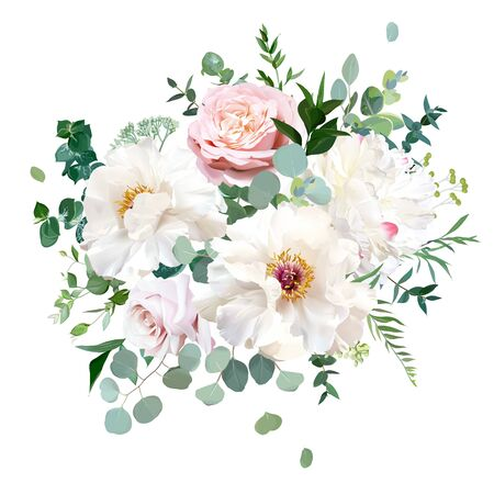 Dusty pink blush rose, white and creamy woody peony flowers vector design wedding bouquet.Eucalyptus, greenery.Floral pastel watercolor style.Blooming spring bouquet.Elements are isolated and editable