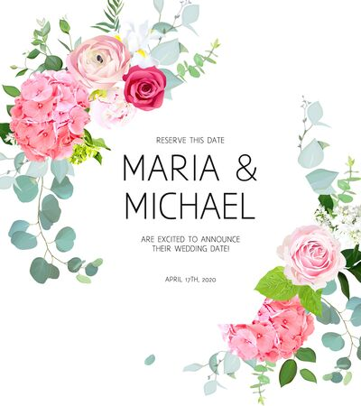 Pink hydrangea, red magenta rose, coral ranunculus, peony, iris, white lilac, eucalyptus and greenery vector design frame. Summer wedding flowers. Floral banner. All elements are isolated and editable
