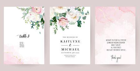 Elegante Hochzeitskarten mit rosa Aquarellbeschaffenheit und Frühlingsblumen. Weiße Pfingstrose, rosa Ranunkel, staubige Rose, Eukalyptus, Grün. Blumenvektor-Designrahmen. Alle Elemente sind isoliert und bearbeitbar