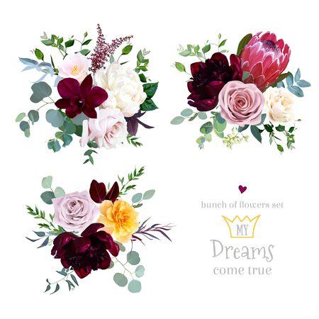 Rosa polveroso, rosa gialla e crema, magenta protea, bordeaux e fiori di peonia bianca, orchidea, camelia rosa, eucalipto, verde, bacche, mazzi di disegno vettoriale di marsala astilbe. Isolato e modificabile Vettoriali
