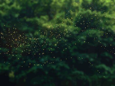 Fond de vecteur de feuillage vert émeraude de la forêt. Arbres verts du jardin flous. L'été laisse une texture de carte floue avec des paillettes d'or. Week-end nature. Style rustique. Modèle de fête en plein air élégant. Vecteurs
