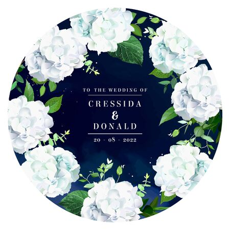 Navy blue floral medallion round vector frame. White hydgangea, eucalyptus, greenery design wedding card. Dark background with white glitter and night sky texture. Elements are isolated and editable Ilustrace