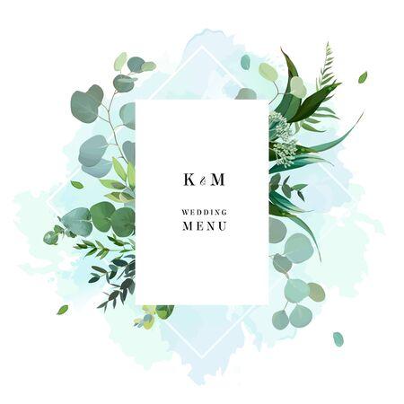 Cornice vettoriale a base di erbe. Piante, rami, foglie dipinte a mano su fondo di tintura blu teal dipinto. Invito a nozze botanico nel verde. Schizzi in stile acquerello. Design della carta naturale. Isolato e modificabile