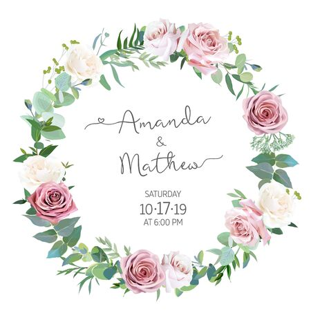 Dusty rose, greenery selection vector design round invitation frame. Wedding greenery. Pink, blue, green tones. Watercolor save the date card.Summer rustic style.All elements are isolated and editable