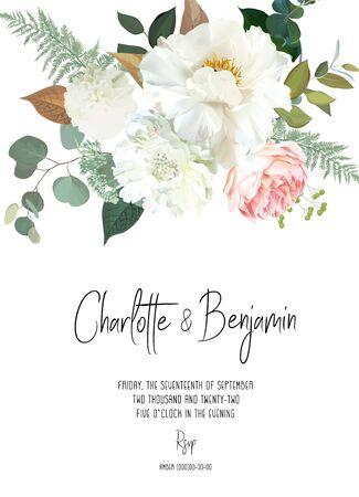 レトロな繊細なベクトルデザインの花カード。クリーミーな牡丹、白いダリア、ピンクの庭のバラ、ユーカリ、緑、セージと赤面。結婚式の花の背景。水彩ヴィンテージフレーム。孤立して編集可能