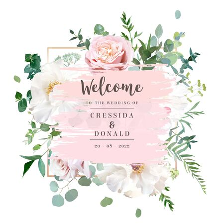 Elegant floral vector card with white and creamy woody peony, dusty rose flowers, eucalyptus, mixed plants. Pink gradient background frame in watercolor style. All elements are isolated and editable