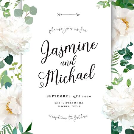 Luxurious delicate wedding card with flowers. White woody peony, fern, eucalyptus, greenery. Spring garden elegant template. Summer floral vector design frame. All elements are isolated and editable