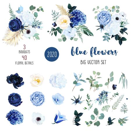 Bleu classique, rose blanche, hortensia blanc, renoncule, campanule, anémone, pivoine, fleurs de chardon, verdure et eucalyptus, baies, grand ensemble vectoriel de genévrier. Collection de couleurs tendance Isolée et modifiable