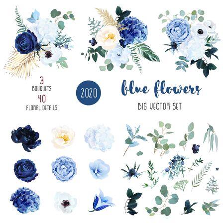 Klasyczna niebieska, biała róża, biała hortensja, Jaskier, dzwonek, zawilec, piwonia, kwiaty ostu, zieleń i eukaliptus, jagoda, jałowiec duży wektor zestaw. Modna kolekcja kolorów Izolowana i edytowalna