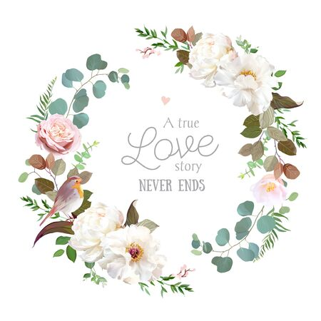 Blush pink antique rose, creamy white peony, pale camellia flowers vector design spring wedding round frame. Eucalyptus, greenery.Floral pastel watercolor border.All elements are isolated and editable