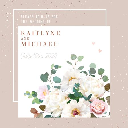 Blush pink antique rose, creamy white peony, pale camellia flowers vector design spring wedding square frame. Glitter beige. Eucalyptus, greenery. Floral pastel watercolor border.Isolated and editable