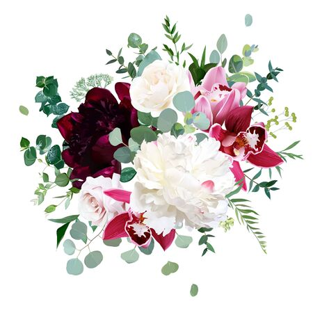 Elegant floral vector bouquet with white and burgundy red peony