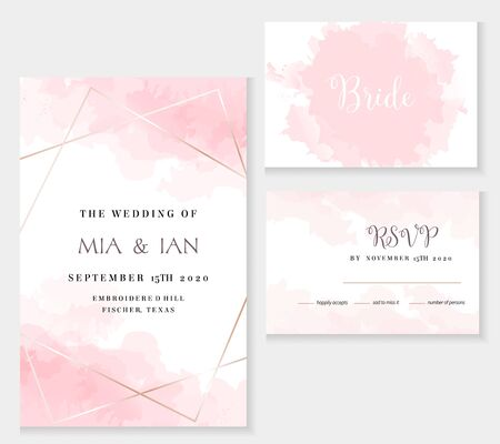 Stylish dusty pink and gold geometric vector design cards. Set of golden line art cards. Spring wedding invitation. Sugar cotton texture. Watercolor splash style.All elements are isolated and editable Vetores