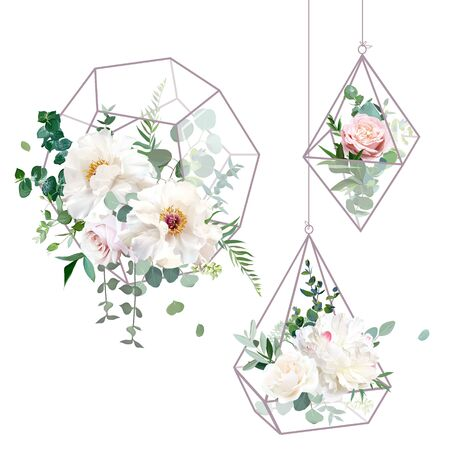 Flower geometric glass hanging terrarium vector design objects. Wedding flowers bouquets. Creamy white peony, ivory and dusty pink rose, eucalyptus, greenery. All elements are isolated and editable