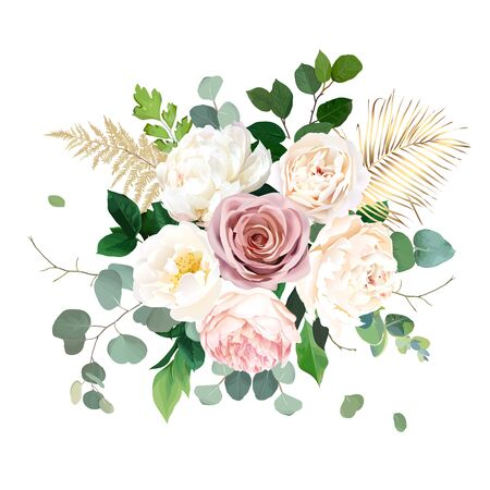 Dusty pink blush, white and creamy rose flowers vector design wedding bouquet. Eucalyptus, greenery. Floral pastel watercolor style. Blooming spring floral card. Elements are isolated and editable