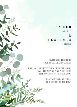 Herbal vector frame. Hand painted plants, branches, leaves on painted teal blue dye background. Greenery botanical wedding invitation. Watercolor style splash.Natural card design.Isolated and editable