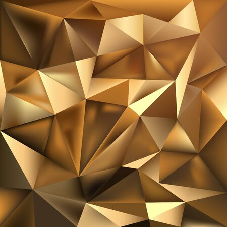 Golden foil polygonal vector texture. Magic rich glowing background. Stylish fashion triangles backdrop. 3D luxury flat lay style. Elegant geometric template.