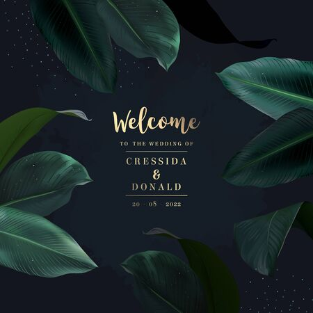 Tropical elegant frame arranged from exotic emerald leaves. Design vector. Paradise plants, greenery chic card. Stylish fashion banner. Wedding template. All leaves are not cut. Isolated and editable