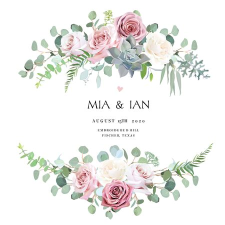 Dusty and light pink, creamy antique rose, pale flowers vector design wedding bouquets. Eucalyptus, echeveria succulent, greenery. Floral pastel style border.All elements are isolated and editable