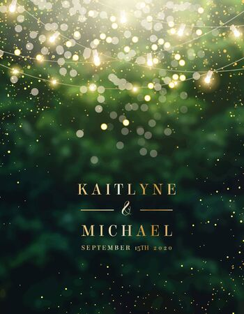 Emerald greenery forest foliage vector background. Green garden trees wedding invitation. Summer leaves card texture. Bokeh lights art.Rustic style save the date.Elegant outdoor party template garland