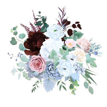 Elegant floral vector bouquet with burgundy red peony, dusty pink rose, blue and white flowers, eucalyptus, brunia, echeveria, mixed plants. Watercolor style wedding floral card. Isolated and editable Vector Illustration