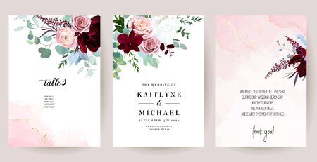 Elegant wedding cards with pink watercolor texture and spring flowers. Burgundy red peony, pink ranunculus, dusty rose, orchid, eucalyptus, greenery. Floral vector design frame. Isolated and editable