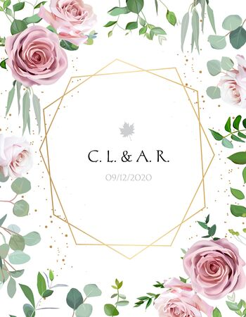Geometric floral vector design frame. Pale pink and creamy white rose, eucalyptus, greenery. Trendy wedding green and flowers rustic card. Golden line art and glitter. Isolated and editable.