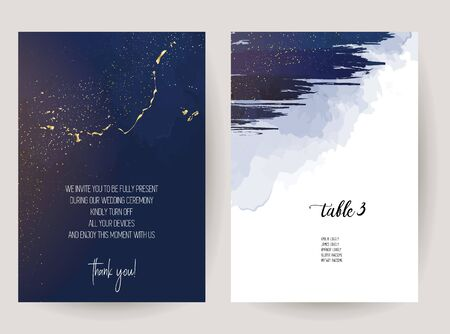 Magic celestial sky vector design cards. Night dark blue clouds with sparkling stars wedding invitations. Watercolor splash style. Gold glitter splash background. Scattered dust. Midnight milky way