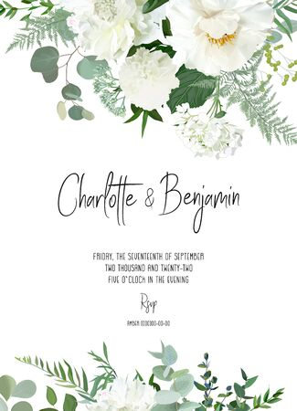 Retro delicate vector design flower card. Creamy peony, white dahlia, hydrangea, eucalyptus, silver greenery, sage plants. Wedding floral background. Watercolor vintage frame. Isolated and editable