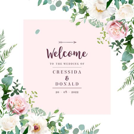 Silver sage green and blush pink flowers vector design frame. Beige and dusty rose, white ivory peony, eucalyptus, greenery. Spring wedding floral card. Pastel watercolor style. Isolated and editable