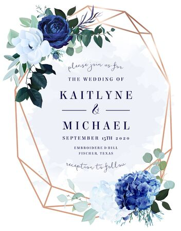 Royal blue rose, white hydrangea, anemone, eucalyptus, juniper vector design frame.Stylish pink gold geometry. Watercolor style.Wedding seasonal flower card. Floral composition. Isolated and editable