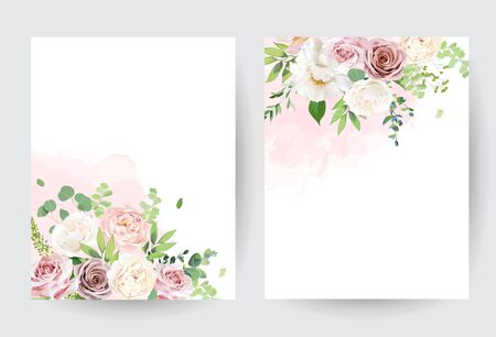 Dusty pink blush, white and creamy rose flowers vector design wedding bouquet. Eucalyptus, greenery. Floral pastel watercolor style. Blooming spring floral cards. Elements are isolated and editable